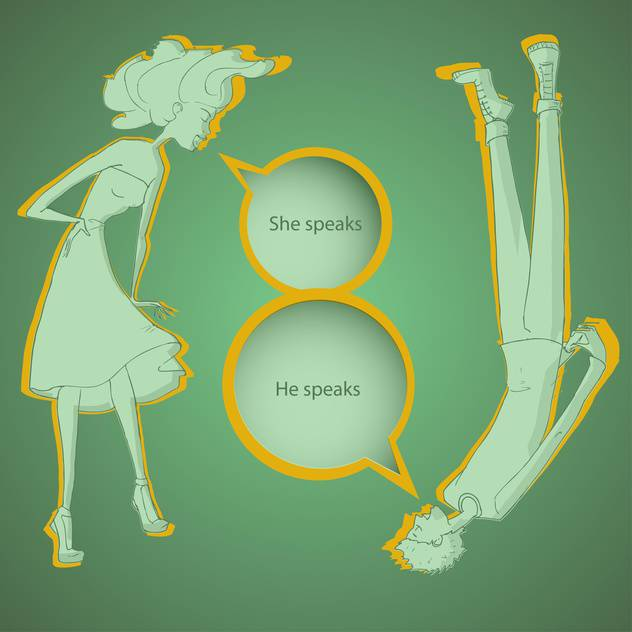 Boy and girl talking with speech bubbles on green background - бесплатный vector #127793