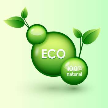 green round shaped eco icon with green leaves - vector #127823 gratis