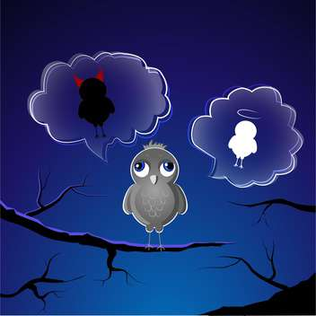 Funny little sparrow on branch choose good or evil side - Kostenloses vector #127843