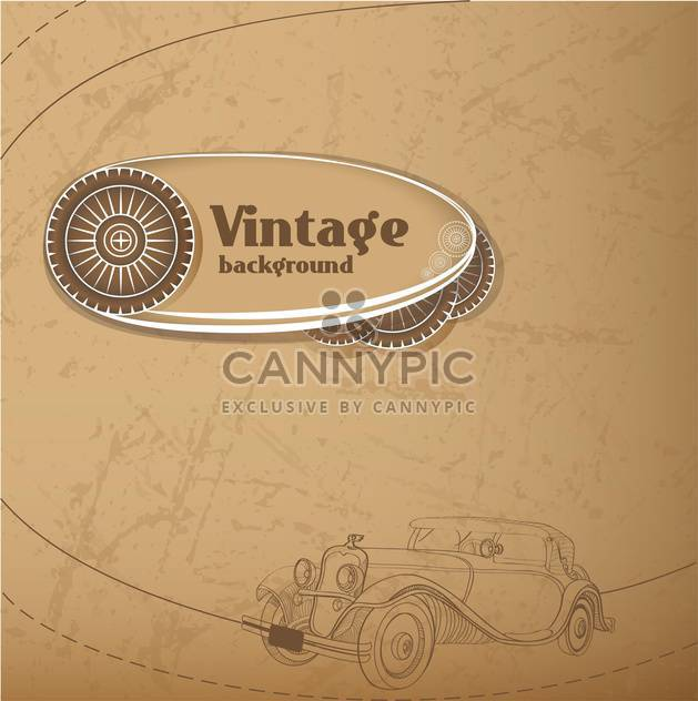 Vector vintage background with old car - Free vector #127863