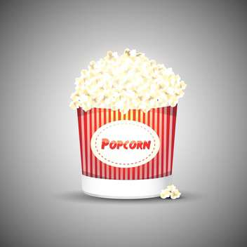 vector illustration of tasty popcorn on grey background - vector gratuit #127873