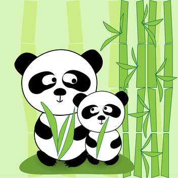 vector illustration of cute cartoon pandas - vector gratuit #127963