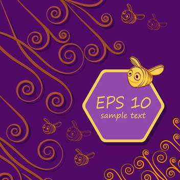cute bees and honeycombs on purple background with text place - vector #127973 gratis