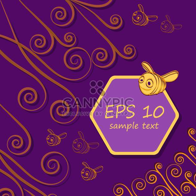 cute bees and honeycombs on purple background with text place - Free vector #127973