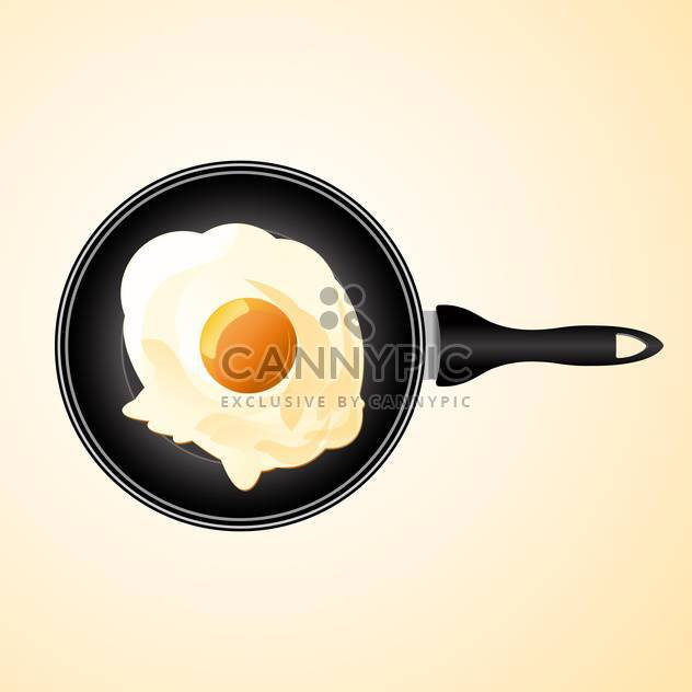 vector illustration of frying pan with egg - Free vector #128003