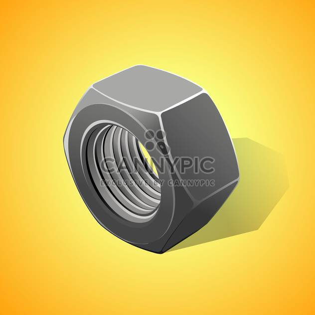Metal nut vector illustration, on a yellow background - Free vector #128193