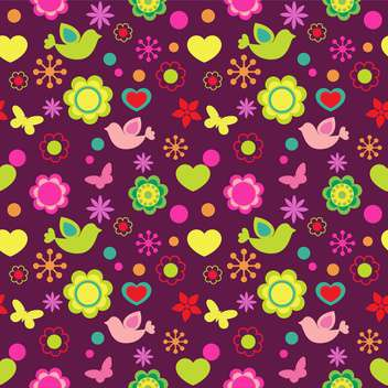 Seamless background with birds and flowers - vector gratuit #128213