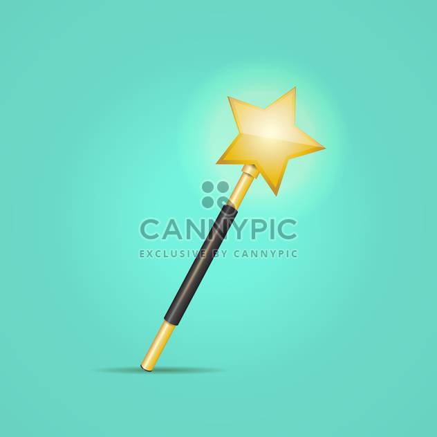 golden magic wand, on green background - Free vector #128253
