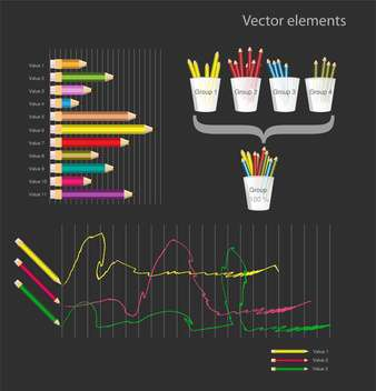 Set of colored pencils infographic vector elements - vector #128353 gratis
