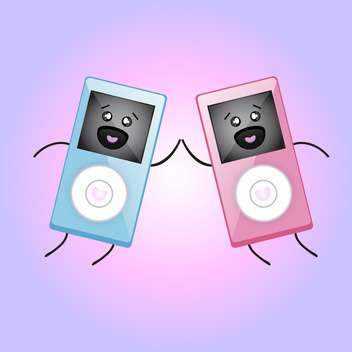 Vector illustration of MP3 players in love. - vector gratuit #128433