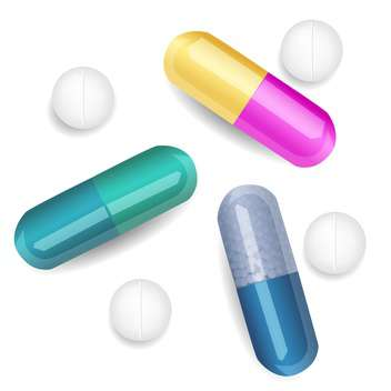Vector set of different pills and capsules - Free vector #128563