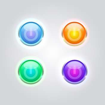 Vector set of colorful glossy power buttons. - Free vector #128613