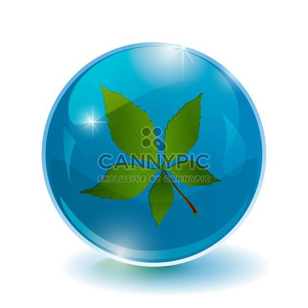 Vector illustration of blue bright circle with leaf inside - Free vector #128633