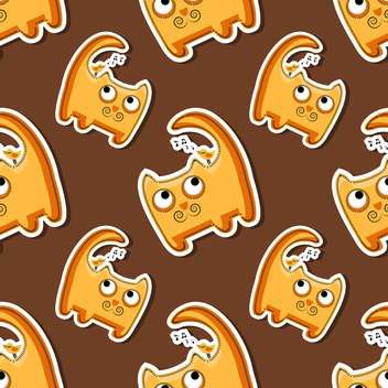 Vector seamless pattern with cute orange cats - vector gratuit #128653