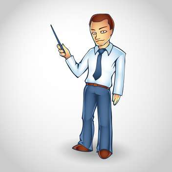 Cartoon business man points upwards with pointer on copy space - бесплатный vector #128703