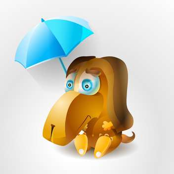 Vector illustration of sad dog with umbrella. - vector gratuit #128733