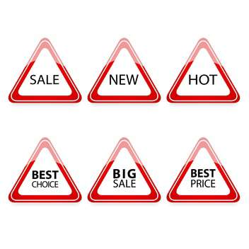 Vector set of triangle traffic signs with sale text - vector gratuit #128763
