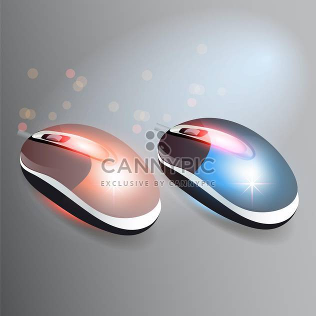 Vector illustration of red and blue wireless computer mouses - Free vector #128793
