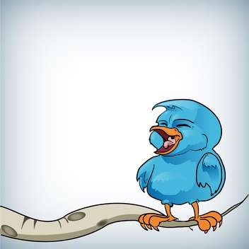 Vector illustration of blue bird on a branch - Free vector #128813