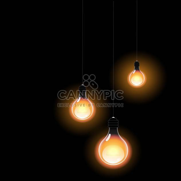 Glowing in the dark light bulbs vector illustration - Kostenloses vector #128823
