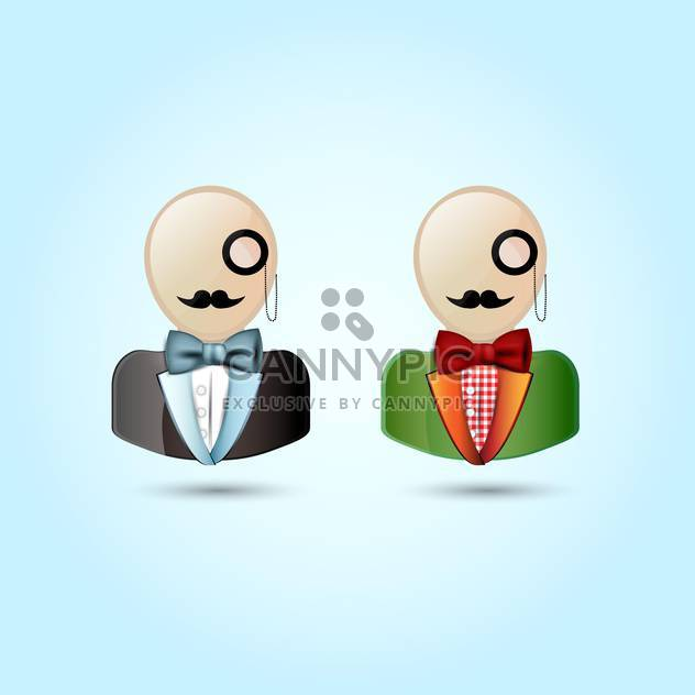 Vector illustration of faces with mustaches, monocle, suits ,and a bow tie - Free vector #128923