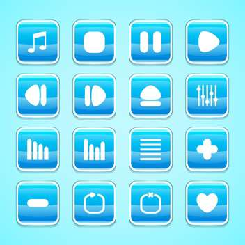 media web vector buttons set - vector gratuit #129073