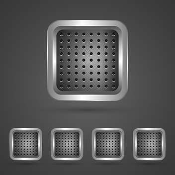 set of silver square buttons - vector #129103 gratis