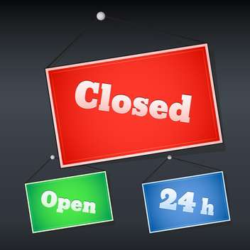 open and closed shopping signs - vector gratuit #129123