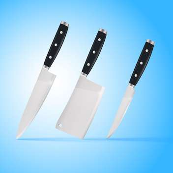 Kitchen carving knives set on blue background - vector #129183 gratis
