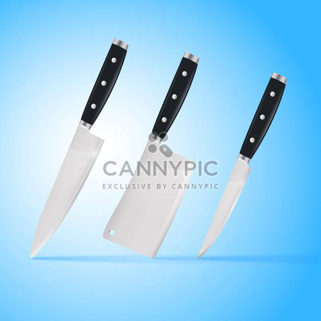Kitchen carving knives set on blue background - Free vector #129183