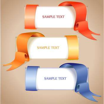 vector banners with ribbons set - vector gratuit #129263