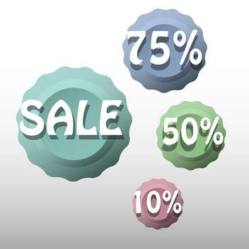 Vector set of colorful sale labels - vector gratuit #129303