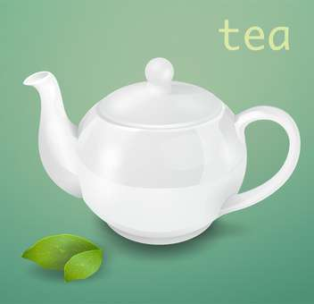 Vector illustration of white teapot on green background - vector gratuit #129333