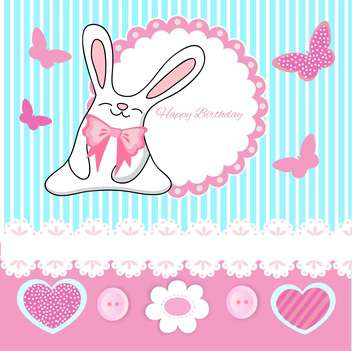 Vector greeting Birthday card with cute bunny and butterflies - бесплатный vector #129353
