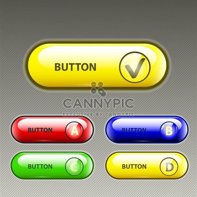 Vector set of five colorful web buttons on gray background - Free vector #129393