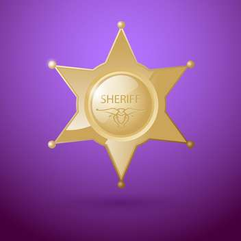 Vector illustration of sheriff star badge on purple background - vector gratuit #129413