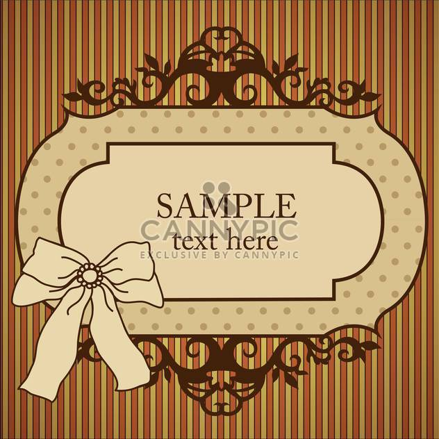 Vector vintage frame with bow on striped background - Free vector #129453