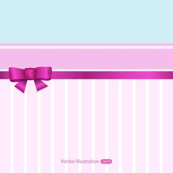 Vector pink and blue banner with ribbon and bow - vector gratuit #129473