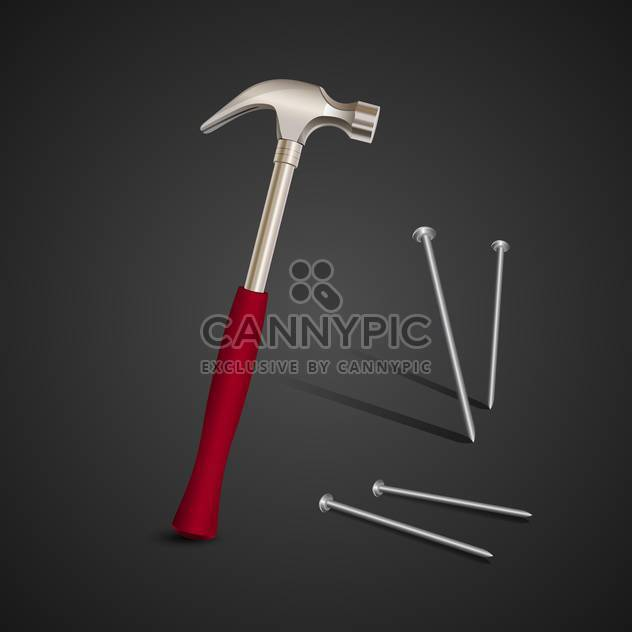 Vector illustration of hammer with nails on black background - Free vector #129503
