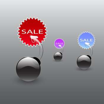Vector set of glossy sale bombs icons on black background - Free vector #129563