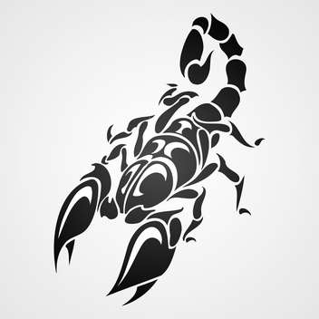 Vector illustration of black tattoo scorpio on gray background - Free vector #129573