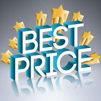 Vector illustration of best price sign with golden stars with reflection on gray background - vector gratuit #129613