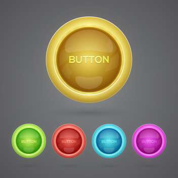 Vector set of colorful buttons on gray background - vector gratuit #129633