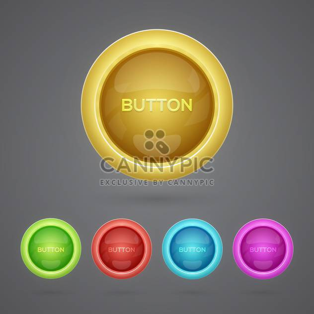 Vector set of colorful buttons on gray background - Free vector #129633