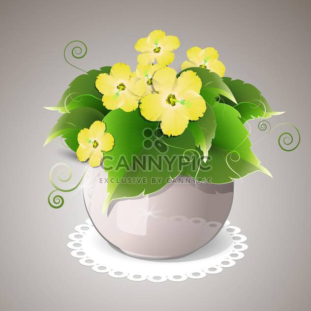 Vector illustration of spring yellow flowers in pot - Free vector #129643