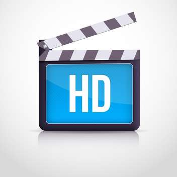 Vector illustration of movie clipboard with HD sign on white background - vector gratuit #129683