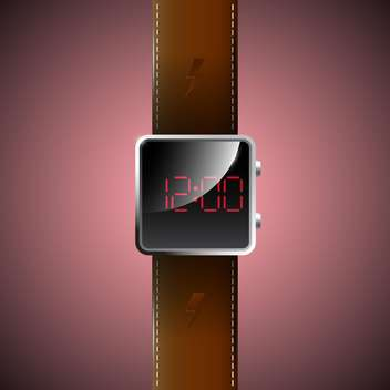 Vector illustration of led watch on red background - vector gratuit #129693