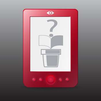 Vector illustration of red e-reader on gray background - бесплатный vector #129773