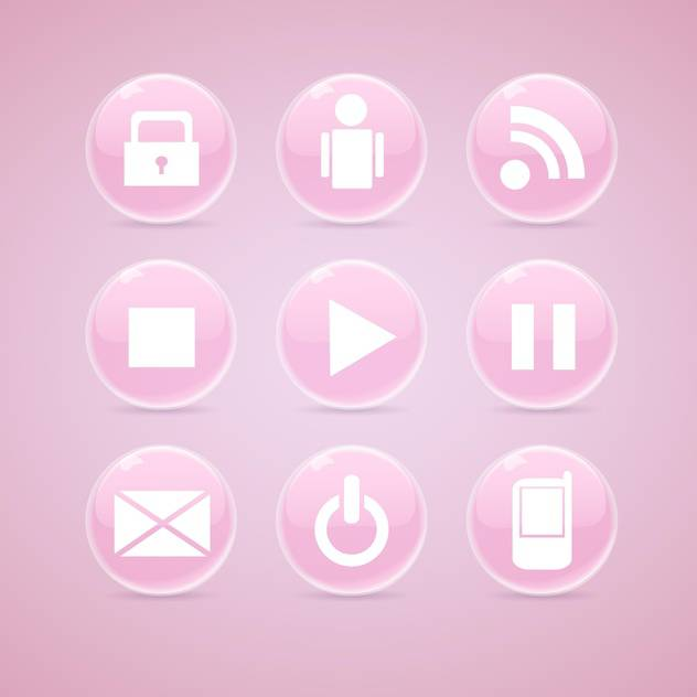Vector set of pink glossy media buttons on pink background - бесплатный vector #129783