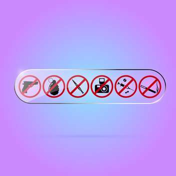 Vector set of prohibited signs on purple background - vector gratuit #129793